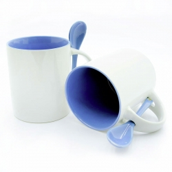 Cups with a blue handle and inside + spoon
