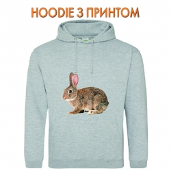 Худи с принтом Grey wild rabbit серый