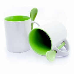 Cups with a green handle and inside + spoon