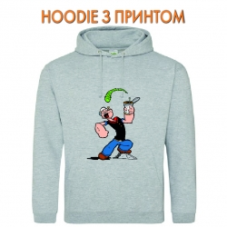 Худи с принтом Popeye the Sailor Powerfull Popeye серый