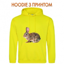 Худи с принтом Grey wild rabbit желтый