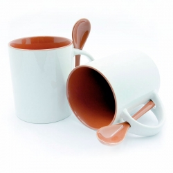 Cups with white handle and red inside + spoon