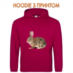 Худи с принтом Grey wild rabbit красный