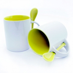 Cups with a yellow handle and inside + spoon