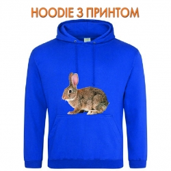 Худи с принтом Grey wild rabbit голубой
