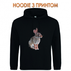 Худи с принтом Wild rabbit sits черный