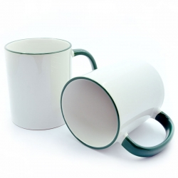Cup with a dark green handle and a rim