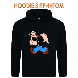 Худи с принтом Popeye the Sailor Funny черный