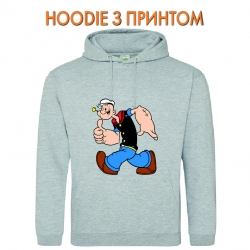 Худи с принтом Popeye the Sailor Funny серый