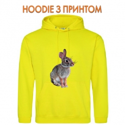 Худи с принтом Wild rabbit sits желтый