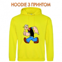 Худи с принтом Popeye the Sailor Funny желтый