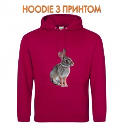 Худи с принтом Wild rabbit sits красный