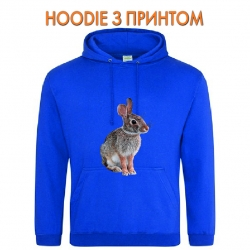 Худи с принтом Wild rabbit sits голубой
