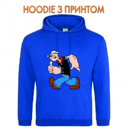 Худи с принтом Popeye the Sailor Funny голубой