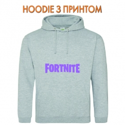 Худи с принтом Fortnite Logo серый