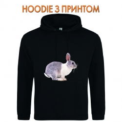 Худи с принтом Grey and whire rabbit jumps черный