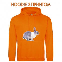 Худи с принтом Grey and whire rabbit jumps оранжевый