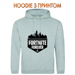 Худи с принтом Fortnite Forever Logo серый
