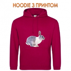 Худи с принтом Grey and whire rabbit jumps красный