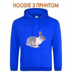 Худи с принтом Grey and whire rabbit jumps голубой
