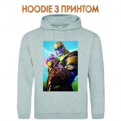 Худи с принтом Fortnite Thanos серый