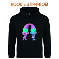 Худи с принтом Trolls Little Heroes черный