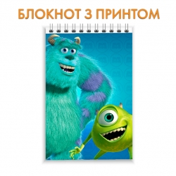 Блокнот Monsters Inc Mike Wazowski And James