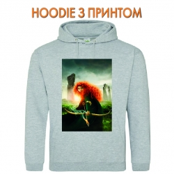 Худи с принтом Brave Princess Merida серый