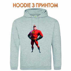 Худи с принтом The Incredibles Father серый