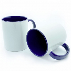Cup with a navy handle and an inside