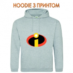 Худи с принтом The Incredibles Logo серый