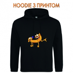 Худи с принтом CatDog Friends черный
