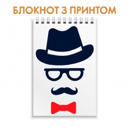 Notepad Father's Day gentleman glasses mustache hat and butterfly
