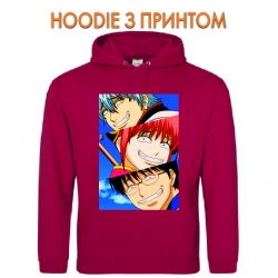 Худи с принтом Gintama Main Heroes красный