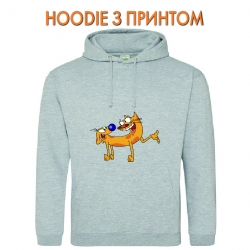 Худи с принтом CatDog Friends серый