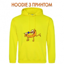 Худи с принтом CatDog Friends желтый