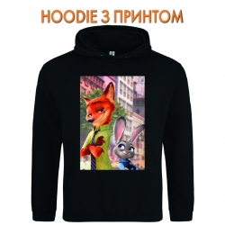Худи с принтом Zootopia Judy Hopps And Nick Wilde черный