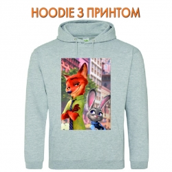 Худи с принтом Zootopia Judy Hopps And Nick Wilde серый