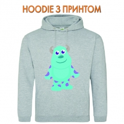 Худи с принтом Monsters Inc James P. Sullivan Cute серый