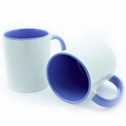 Cup with blue handle and inside