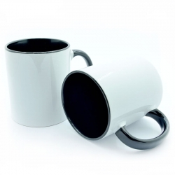 Cup with black handle and inside