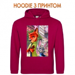 Худи с принтом Zootopia Judy Hopps And Nick Wilde красный