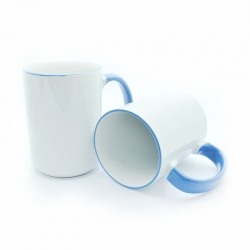 BIG cups with blue handle and rim