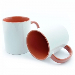 Cup with red handle and inside