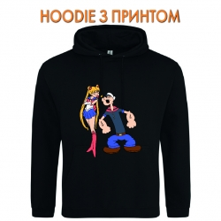 Худи с принтом Popeye the Sailor With Sailor Moon черный