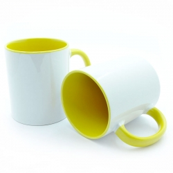 Cup with yellow handle and inside