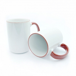 BIG cups with red handle and rim