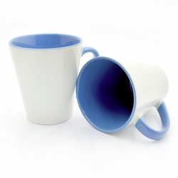 Latte cup blue handle and inside