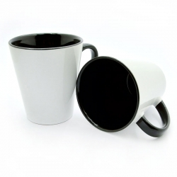 Latte cup black handle and inside