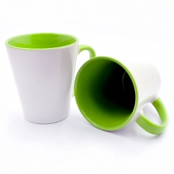Latte cup green handle and the inside